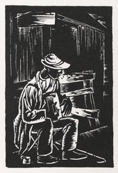 Hale Woodruff (American, 1900-1980). <em>Blind Musician</em>, 1935. Woodcut on thick white paper, Sheet: 19 5/16 x 15 1/16 in. (49.1 x 38.3 cm). Brooklyn Museum, Gift of E. Thomas Williams, Jr. and Auldlyn Higgins Williams, 1999.83. © artist or artist's estate (Photo: Brooklyn Museum, 1999.83_PS6.jpg)