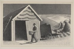Grant Wood (American, 1891-1942). <em>Seed Time and Harvest</em>, 1937. Lithograph on paper, Sheet: 13 x 17 in.  (33.0 x 43.2 cm). Brooklyn Museum, Gift of John C. Quell, 2000.113.1. © artist or artist's estate (Photo: Brooklyn Museum, 2000.113.1_PS9.jpg)