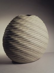 Sakiyama Takayuki (Japanese, born 1958). <em>Rippling Wave (Hamon)</em>, 2000. Ceramic, stoneware, sand-infused glaze, 22 5/8 x 21 3/16 in.  (57.5 x 53.8 cm). Brooklyn Museum, Purchased with funds given by the Jacques and Emy Cohenca Foundation, Inc., 2000.96. © artist or artist's estate (Photo: Brooklyn Museum, 2000.96_transp4787.jpg)