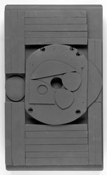 Louise Nevelson (American, born Russia, 1899-1988). <em>Dark Cryptic XXXI</em>, 1976. Wood, pigment, 19 1/2 x 11 x 4 3/4in. (49.5 x 27.9 x 12.1cm). Brooklyn Museum, Gift of Malcolm and Alice Nanes, 2001.128. © artist or artist's estate (Photo: Brooklyn Museum, 2001.128_view1_bw.jpg)