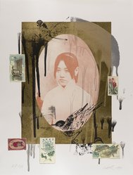 Hung Liu (Chinese, born 1948). <em>Wild Flower (Lotus)</em>, 1999. Lithograph with gold leaf and collage, 25 x 19 in.  (63.5 x 48.3 cm). Brooklyn Museum, Emily Winthrop Miles Fund, 2001.65. © artist or artist's estate (Photo: Brooklyn Museum, 2001.65_IMLS_PS4.jpg)