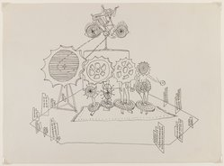 Frederick J Kiesler (American, born Ukraine, 1890-1965). <em>Setting for Santa Claus (of e.e. cummings)</em>, 1947. Ink on paper, Sheet: 10 3/16 x 13 7/8 in. (25.9 x 35.2 cm). Brooklyn Museum, Bequest of Lillian Kiesler, 2002.51. © artist or artist's estate (Photo: Brooklyn Museum, 2002.51_IMLS_PS3.jpg)