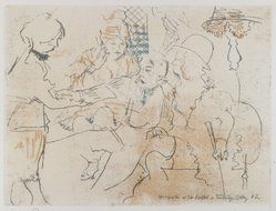 Jack Levine (American, 1915-2010). <em>McHeath at the Brothel in Turnbridge Alley #2</em>, 1963. Soft-ground etching, Image: 8 13/16 x 11 3/4 in. (22.4 x 29.8 cm). Brooklyn Museum, Gift of the artist, 2002.53.3. © artist or artist's estate (Photo: Brooklyn Museum, 2002.53.3_PS4.jpg)