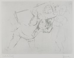 Jack Levine (American, 1915-2010). <em>A Wedding Gift</em>, 1963. Soft-ground etching, Image: 8 13/16 x 11 11/16 in. (22.4 x 29.7 cm). Brooklyn Museum, Gift of the artist, 2002.53.5. © artist or artist's estate (Photo: Brooklyn Museum, 2002.53.5_PS4.jpg)