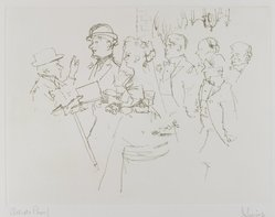 Jack Levine (American, 1915-2010). <em>The Wedding</em>, 1963. Soft-ground etching, Image: 8 13/16 x 11 3/4 in. (22.4 x 29.8 cm). Brooklyn Museum, Gift of the artist, 2002.53.6. © artist or artist's estate (Photo: Brooklyn Museum, 2002.53.6_PS4.jpg)