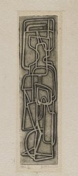 Dorothy Dehner (American, 1908-1994). <em>Man</em>. Relief print, 7 7/8 x 2 in. (20 x 5.1 cm). Brooklyn Museum, Gift of Celia Mitchell, 2002.56.1. © artist or artist's estate (Photo: Brooklyn Museum, 2002.56.1_PS4.jpg)