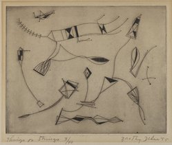 Dorothy Dehner (American, 1908-1994). <em>Things on Strings</em>, 1953. Engraving, 7 1/16 x 8 13/16 in. (17.9 x 22.4 cm). Brooklyn Museum, Gift of Celia Mitchell, 2002.56.2. © artist or artist's estate (Photo: Brooklyn Museum, 2002.56.2_PS4.jpg)
