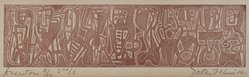 Dorothy Dehner (American, 1908-1994). <em>Ancestors</em>, 1954. Relief print in red ink, 2 x 7 7/8 in. (5.1 x 20 cm). Brooklyn Museum, Gift of Celia Mitchell, 2002.56.4. © artist or artist's estate (Photo: Brooklyn Museum, 2002.56.4_PS4.jpg)