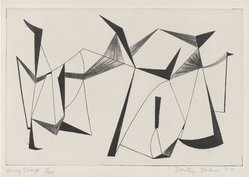Dorothy Dehner (American, 1908-1994). <em>Wing Sharp</em>, 1954. Roulette, etching and drypoint, 5 15/16 x 8 7/8 in. (15.1 x 22.5 cm). Brooklyn Museum, Gift of Celia Mitchell, 2002.56.5. © artist or artist's estate (Photo: Brooklyn Museum, 2002.56.5_PS4.jpg)