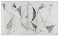 Dorothy Dehner (American, 1908-1994). <em>Sails</em>, 1955. Engraving and roulette, Image: 3 x 4 7/8 in. (7.6 x 12.4 cm). Brooklyn Museum, Gift of Celia Mitchell, 2002.56.6. © artist or artist's estate (Photo: Brooklyn Museum, 2002.56.6_PS4.jpg)