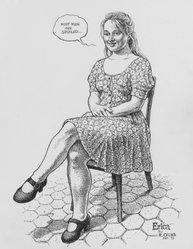 Robert Crumb (American, born 1943). <em>Erica</em>, 1993. Ink on paper, 14 x 11 in. (35.6 x 27.9 cm). Brooklyn Museum, Alfred T. White Fund, 2002.73. © artist or artist's estate (Photo: Brooklyn Museum, 2002.73.jpg)
