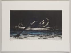 John Wilson (American, born 1922). <em>Journey of the Mann Family</em>, 2001. Etching, Sheet: 11 3/4 x 15 7/8 in. (29.8 x 40.3 cm). Brooklyn Museum, Emily Winthrop Miles Fund, 2002.74.4. © artist or artist's estate (Photo: Brooklyn Museum, 2002.74.4_PS11.jpg)