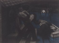 John Wilson (American, born 1922). <em>Embarkation</em>, 2001. Etching, Sheet: 11 3/4 x 15 7/8 in. (29.8 x 40.3 cm). Brooklyn Museum, Emily Winthrop Miles Fund, 2002.74.5. © artist or artist's estate (Photo: Brooklyn Museum, 2002.74.5.jpg)