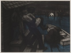 John Wilson (American, born 1922). <em>Embarkation</em>, 2001. Etching, Sheet: 11 3/4 x 15 7/8 in. (29.8 x 40.3 cm). Brooklyn Museum, Emily Winthrop Miles Fund, 2002.74.5. © artist or artist's estate (Photo: Brooklyn Museum, 2002.74.5_PS11.jpg)
