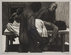 John Wilson (American, born 1922). <em>Death of Lulu</em>, 2001. Etching, Sheet: 11 3/4 x 15 7/8 in. (29.8 x 40.3 cm). Brooklyn Museum, Emily Winthrop Miles Fund, 2002.74.7. © artist or artist's estate (Photo: Brooklyn Museum, 2002.74.7_PS11.jpg)