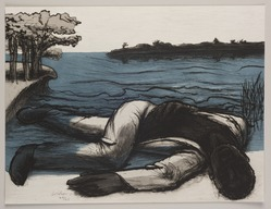 John Wilson (American, born 1922). <em>The Death of Mann</em>, 2001. Etching, Sheet: 11 3/4 x 15 7/8 in. (29.8 x 40.3 cm). Brooklyn Museum, Emily Winthrop Miles Fund, 2002.74.9. © artist or artist's estate (Photo: Brooklyn Museum, 2002.74.9_PS11.jpg)