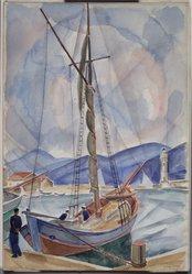 Bertram Hartman (American, 1882-1960). <em>St. Tropez</em>, 1924. Watercolor with graphite underdrawing on paper, 22 1/16 x 15 1/4 in. (56 x 38.7 cm). Brooklyn Museum, Bequest of Richard J. Kempe, 2003.27.1. © artist or artist's estate (Photo: Brooklyn Museum, 2003.27.1.jpg)