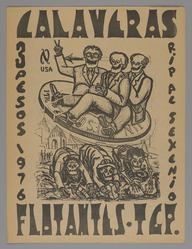 Francisco Luna (Mexican). <em>Floating Skulls (Calaveras Flatantes)</em>, 1976. Relief print, 15 x 11 1/2 in. (38.1 x 29.2 cm). Brooklyn Museum, Bequest of Richard J. Kempe, 2003.41.17. © artist or artist's estate (Photo: , 2003.41.17_PS9.jpg)
