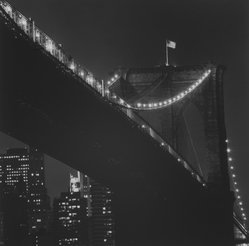 Ileane Bernstein Naprstek (American, born 1956). <em>Night at Brooklyn Bridge, N.Y.C. from the series Landmarks</em>, 2001. Gelatin silver photograph, image: 15 x 15 in. (38.1 x 38.1 cm). Brooklyn Museum, Gift of the artist, 2003.63.2. © artist or artist's estate (Photo: Brooklyn Museum, 2003.63.2_bw.jpg)