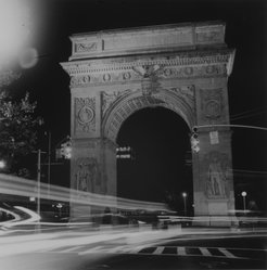 Ileane Bernstein Naprstek (American, born 1956). <em>Washington Square Arch, Night Lights from the series Landmarks</em>, 1995. Gelatin silver photograph, image: 15 x 15 in. (38.1 x 38.1 cm). Brooklyn Museum, Gift of the artist, 2003.63.3. © artist or artist's estate (Photo: Brooklyn Museum, 2003.63.3_bw.jpg)