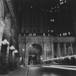 Ileane Bernstein Naprstek (American, born 1956). <em>City Hall and Surrogate Court at Night, N.Y.C. from the series Landmarks</em>, 1998. Gelatin silver photograph, image: 15 x 15 in. (38.1 x 38.1 cm). Brooklyn Museum, Gift of the artist, 2003.63.5. © artist or artist's estate (Photo: Brooklyn Museum, 2003.63.5_bw.jpg)