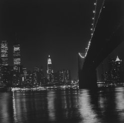 Ileane Bernstein Naprstek (American, born 1956). <em>Brooklyn Bridge and Manhattan Skyline, N.Y.C. from the series Landmarks</em>, 2001. Gelatin silver photograph, image: 15 x 15 in. (38.1 x 38.1 cm). Brooklyn Museum, Gift of the artist, 2003.63.6. © artist or artist's estate (Photo: Brooklyn Museum, 2003.63.6_bw.jpg)