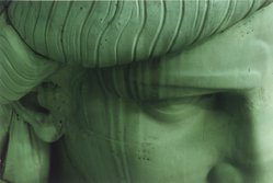 James Rudnick (American, born 1955). <em>Detail of a Face of the Statue of Liberty</em>, 1985, printed 2003. Chromogenic photograph, Sheet: 11 x 14 in. (27.9 x 35.6 cm). Brooklyn Museum, Gift of the artist, 2003.77.1. © artist or artist's estate (Photo: Brooklyn Museum, 2003.77.1.jpg)