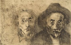 Raphael Soyer (American, born Russia, 1899-1987). <em>Self Portraits Both Young/Old</em>, 1978. Etching, Sheet: 11 x 15 in. (27.9 x 38.1 cm). Brooklyn Museum, Gift of Barbara Sorini in memory of Emiliano Sorini, 2003.78.2. © artist or artist's estate (Photo: Brooklyn Museum, 2003.78.2.jpg)