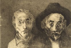 Raphael Soyer (American, born Russia, 1899-1987). <em>Self Portraits Both Young/Old</em>, 1978. Etching, Sheet: 11 x 15 in. (27.9 x 38.1 cm). Brooklyn Museum, Gift of Barbara Sorini in memory of Emiliano Sorini, 2003.78.3. © artist or artist's estate (Photo: Brooklyn Museum, 2003.78.3.jpg)