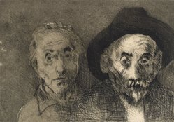 Raphael Soyer (American, born Russia, 1899-1987). <em>Self Portraits Both Young/Old</em>, 1978. Etching, Sheet: 11 x 15 in. (27.9 x 38.1 cm). Brooklyn Museum, Gift of Barbara Sorini in memory of Emiliano Sorini, 2003.78.4. © artist or artist's estate (Photo: Brooklyn Museum, 2003.78.4.jpg)