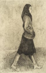 Raphael Soyer (American, born Russia, 1899-1987). <em>Woman Standing</em>, 1977. Etching, Sheet: 15 x 11 in. (38.1 x 27.9 cm). Brooklyn Museum, Gift of Barbara Sorini in memory of Emiliano Sorini, 2003.78.7. © artist or artist's estate (Photo: Brooklyn Museum, 2003.78.7.jpg)