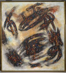 André Masson (French, 1896-1987). <em>Movement</em>, 1957. Oil on canvas, 48 1/2 x 44 in. Brooklyn Museum, Gift of The Beatrice and Samuel A. Seaver Foundation, 2004.30.12. © artist or artist's estate (Photo: Brooklyn Museum, 2004.30.12_PS2.jpg)