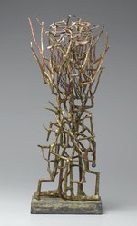 Satoru Abe (American, born 1926). <em>Untitled</em>, 1970s. Painted metal, 24 x 11 x 6 in. Brooklyn Museum, Gift of The Beatrice and Samuel A. Seaver Foundation, 2004.30.18. © artist or artist's estate (Photo: Brooklyn Museum, 2004.30.18_PS1.jpg)