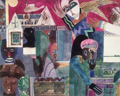 Romare Bearden (American, 1911-1988). <em>Wizard's Domaine</em>, ca. 1970s. Watercolor over pencil on paper, 19 x 24 in. (48.3 x 61cm). Brooklyn Museum, Gift of The Beatrice and Samuel A. Seaver Foundation, 2004.30.2. © artist or artist's estate (Photo: Brooklyn Museum, 2004.30.2.jpg)