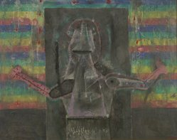 Rufino Tamayo (Mexican, 1899-1991). <em>Hombre Actual</em>, 1969. Oil on canvas, 39 x 47 in. (99.1 x 119.4 cm). Brooklyn Museum, Gift of The Beatrice and Samuel A. Seaver Foundation, 2004.30.23. © artist or artist's estate (Photo: Brooklyn Museum, 2004.30.23.jpg)