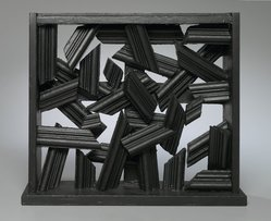 Dan Cavaliere. <em>Untitled</em>, ca. 1989. Wood, black paint, 12 1/2 x 14 x 3 in. Brooklyn Museum, Gift of The Beatrice and Samuel A. Seaver Foundation, 2004.30.5. © artist or artist's estate (Photo: Brooklyn Museum, 2004.30.5_PS1.jpg)