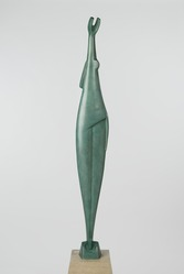 Alexander Archipenko (American, born Ukraine, 1887-1964). <em>The Ray</em>, 1920s. Bronze with green patina, Total height: 74 in., 215 lb. (188 cm, 97.52kg). Brooklyn Museum, Gift of The Beatrice and Samuel A. Seaver Foundation, 2004.37.1a-b. © artist or artist's estate (Photo: Brooklyn Museum, 2004.37.1_front_PS6.jpg)