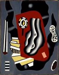 Fernand Léger (French, 1881-1955). <em>Composition en Rouge et Bleu</em>, 1930. Oil on canvas, 36 1/2 x 29in. (92.7 x 73.7cm). Brooklyn Museum, Gift of The Beatrice and Samuel A. Seaver Foundation, 2004.37.2. © artist or artist's estate (Photo: Brooklyn Museum, 2004.37.2_SL3.jpg)