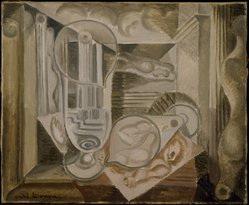André Masson (French, 1896-1987). <em>Glasses and Architectures (Verres et architectures)</em>, 1924. Oil on canvas, 15 x 18 in. (38.1 x 45.7 cm). Brooklyn Museum, Gift of The Beatrice and Samuel A. Seaver Foundation, 2004.37.3. © artist or artist's estate (Photo: Brooklyn Museum, 2004.37.3_SL3.jpg)