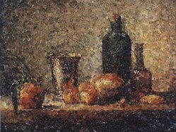 Vik Muniz (born Brazil, 1961). <em>Seville Orange, Silver Goblet, Apples, Pear and Two Bottles, after Chardin (Pictures of Magazines)</em>, 2004. Chromogenic photograph mounted on aluminium, 40 x 51 1/2 in. (101.6 x 130.8 cm). Brooklyn Museum, Gift of the Prints and Photographs Council, 2004.39. © artist or artist's estate (Photo: Brooklyn Museum, 2004.39.jpg)
