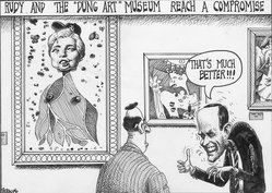"Sean Delonas (American, born 1960). <em>Rudy and the ""Dung Art"" Museum Reach a Compromise</em>, March 29, 2000. Ink, Sheet: 7 1/2 x 10 7/16 in. (19.1 x 26.5 cm). Brooklyn Museum, Gift of the artist, 2004.44.1. © artist or artist's estate (Photo: Brooklyn Museum, 2004.44.1.jpg)"