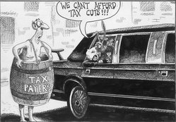 Sean Delonas (American, born 1960). <em>We Can't Afford Tax Cuts</em>, January 9, 2003. Ink, Sheet: 6 13/16 x 9 5/8 in. (17.3 x 24.4 cm). Brooklyn Museum, Gift of the artist, 2004.44.4. © artist or artist's estate (Photo: Brooklyn Museum, 2004.44.4.jpg)