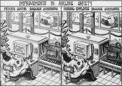 Sean Delonas (American, born 1960). <em>Improvements in Airline Safety</em>, November 20, 2001. Ink, Sheet: 7 1/2 x 10 7/8 in. (19.1 x 27.6 cm). Brooklyn Museum, Gift of the artist, 2004.44.8. © artist or artist's estate (Photo: Brooklyn Museum, 2004.44.8.jpg)