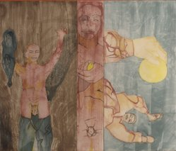 Francesco Clemente (Italian, born 1952). <em>Conversion to her</em>, 1986. Etching and aquatint, 51 x 62 in. (129.5 x 157.5 cm). Brooklyn Museum, Gift of Edward and Phyllis Kwalwasser, 2004.45.1. © artist or artist's estate (Photo: Brooklyn Museum, 2004.45.1.jpg)