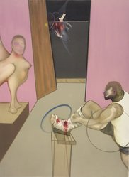 Francis Bacon (British, 1909-1992). <em>Oedipus and the Sphinx</em>, 1984. Lithograph, Sheet: 50 1/2 x 35 1/2 in. (128.3 x 90.2 cm). Brooklyn Museum, Gift of The Beatrice and Samuel A. Seaver Foundation, 2004.48.1. © artist or artist's estate (Photo: Brooklyn Museum, 2004.48.1.jpg)