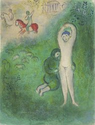Marc Chagall (French, born Russia, 1887-1985). <em>Daphnis and Grathan from Daphnis and Chloe</em>, 1961. Lithograph, 16 1/2 x 12 1/2 in. Brooklyn Museum, Gift of The Beatrice and Samuel A. Seaver Foundation, 2004.48.2. © artist or artist's estate (Photo: Brooklyn Museum, 2004.48.2.jpg)
