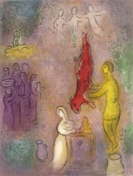 Marc Chagall (French, born Russia, 1887-1985). <em>Sacrifices Made to the Nymphs from Daphnis and Chloe</em>, 1961. Lithograph, 16 1/2 x 12 1/2 in. Brooklyn Museum, Gift of The Beatrice and Samuel A. Seaver Foundation, 2004.48.4. © artist or artist's estate (Photo: Brooklyn Museum, 2004.48.4.jpg)