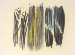 Hans Hartung (French, born Germany, 1904-1989). <em>Composition</em>, 1958. Crayon on paper, 19 x 25 in. Brooklyn Museum, Gift of The Beatrice and Samuel A. Seaver Foundation, 2004.48.6. © artist or artist's estate (Photo: Brooklyn Museum, 2004.48.6.jpg)