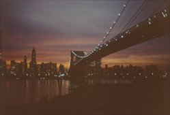 Benjamin Attas (American, born 1921). <em>Brooklyn Bridge [Bridge Center]</em>, 1972. Chromogenic photograph, 9 5/16 x 13 3/4 in. (23.7 x 34.9 cm). Brooklyn Museum, Gift of the artist, 2004.64.2. © artist or artist's estate (Photo: Brooklyn Museum, 2004.64.2.jpg)