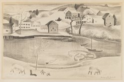 Marguerite Thompson Zorach (American, 1887-1968). <em>Rural Scene with Pond and Sheep</em>, ca. 1920-1930. Lithograph on paper, Sheet: 16 x 20 3/16 in. (40.6 x 51.3 cm). Brooklyn Museum, Bequest of George Turitz, 2004.72.1. © artist or artist's estate (Photo: Brooklyn Museum, 2004.72.1_IMLS_PS3.jpg)
